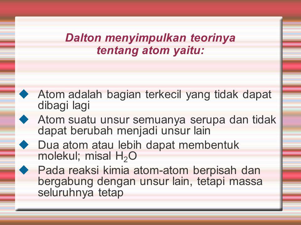 Dalton menyimpulkan teorinya tentang atom yaitu: