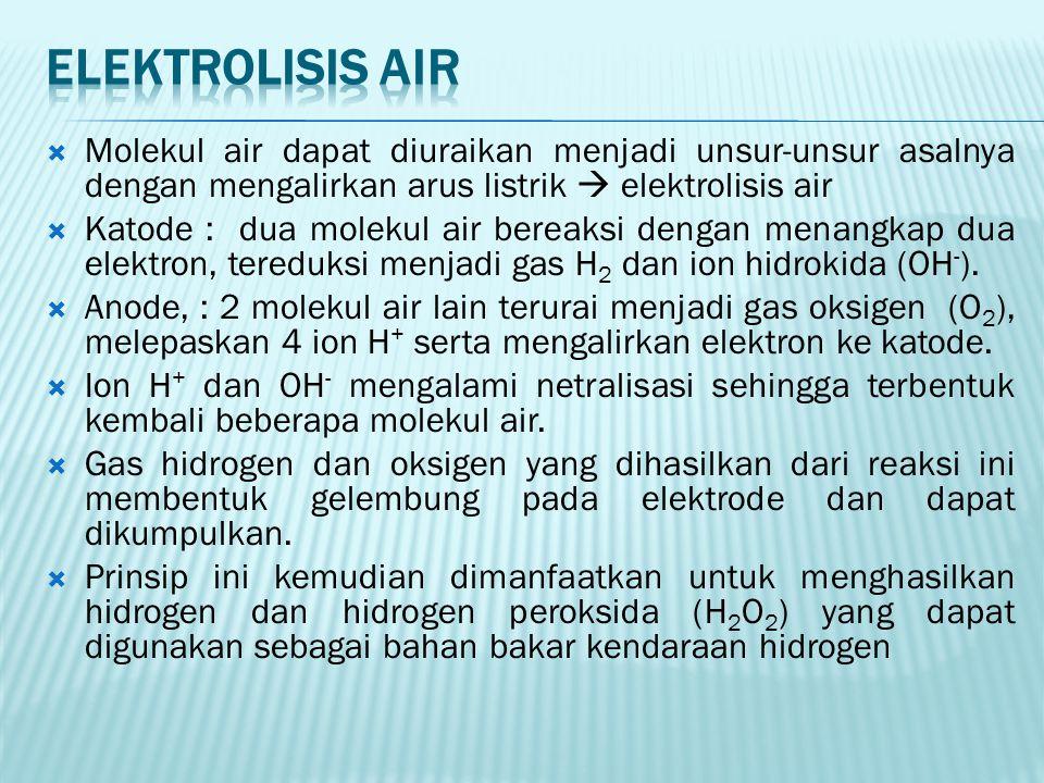 Elektrolisis air Molekul air dapat diuraikan menjadi unsur-unsur asalnya dengan mengalirkan arus listrik  elektrolisis air.