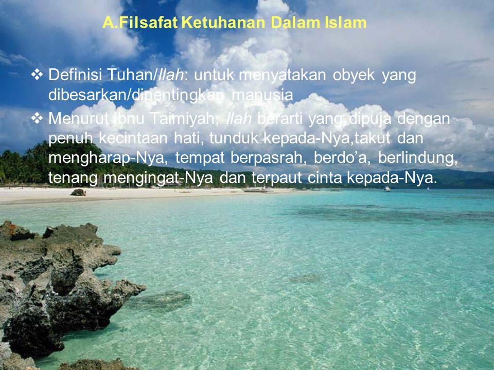 A.Filsafat Ketuhanan Dalam Islam
