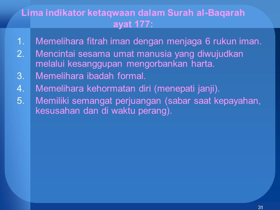 Lima indikator ketaqwaan dalam Surah al-Baqarah ayat 177: