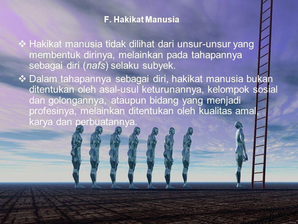 F. Hakikat Manusia