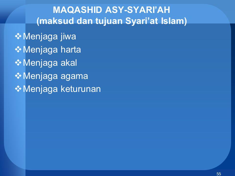 MAQASHID ASY-SYARI'AH (maksud dan tujuan Syari'at Islam)