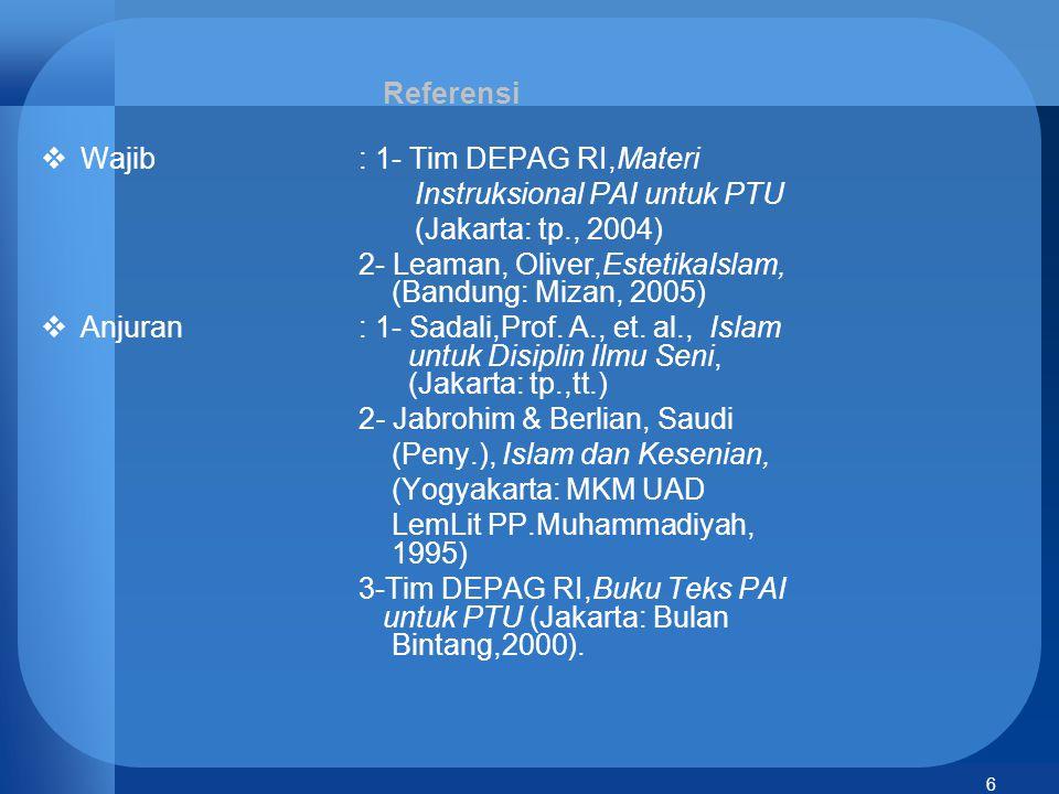 Referensi Wajib : 1- Tim DEPAG RI,Materi. Instruksional PAI untuk PTU. (Jakarta: tp., 2004)