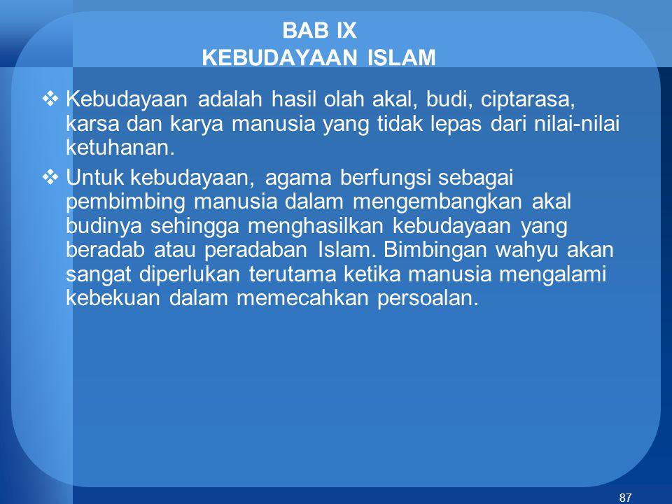 BAB IX KEBUDAYAAN ISLAM