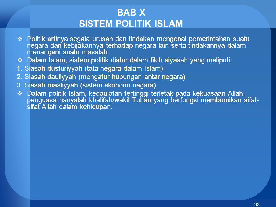 BAB X SISTEM POLITIK ISLAM