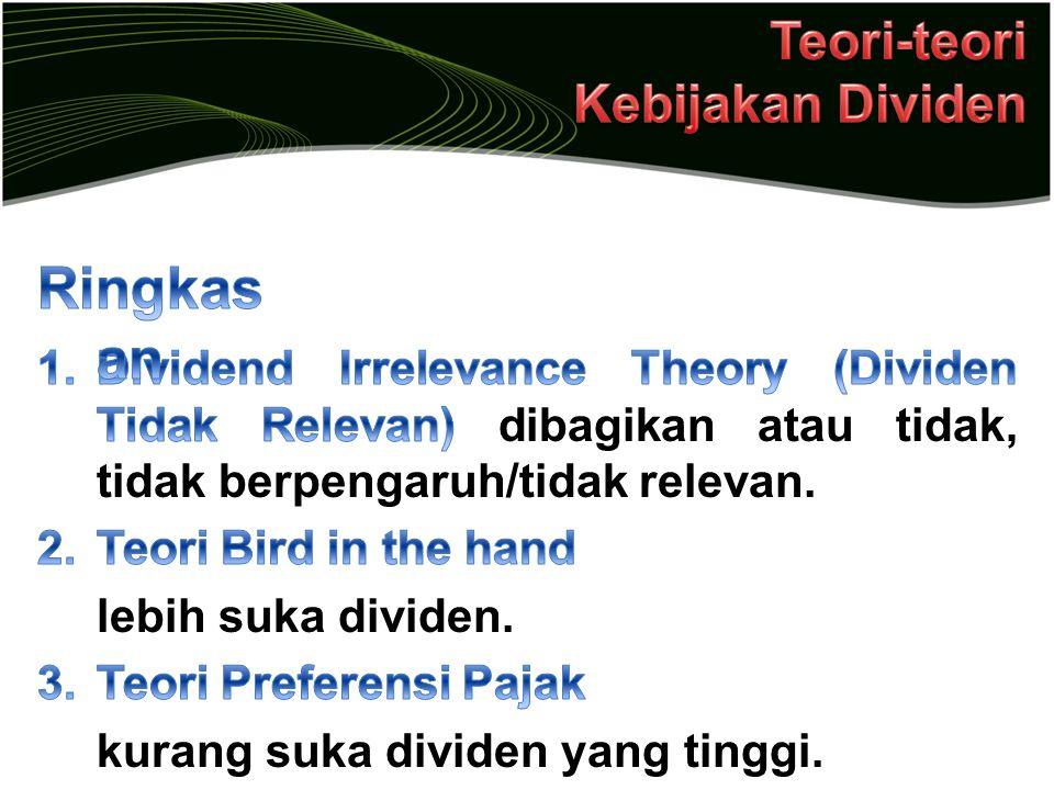 Ringkasan Teori-teori Kebijakan Dividen