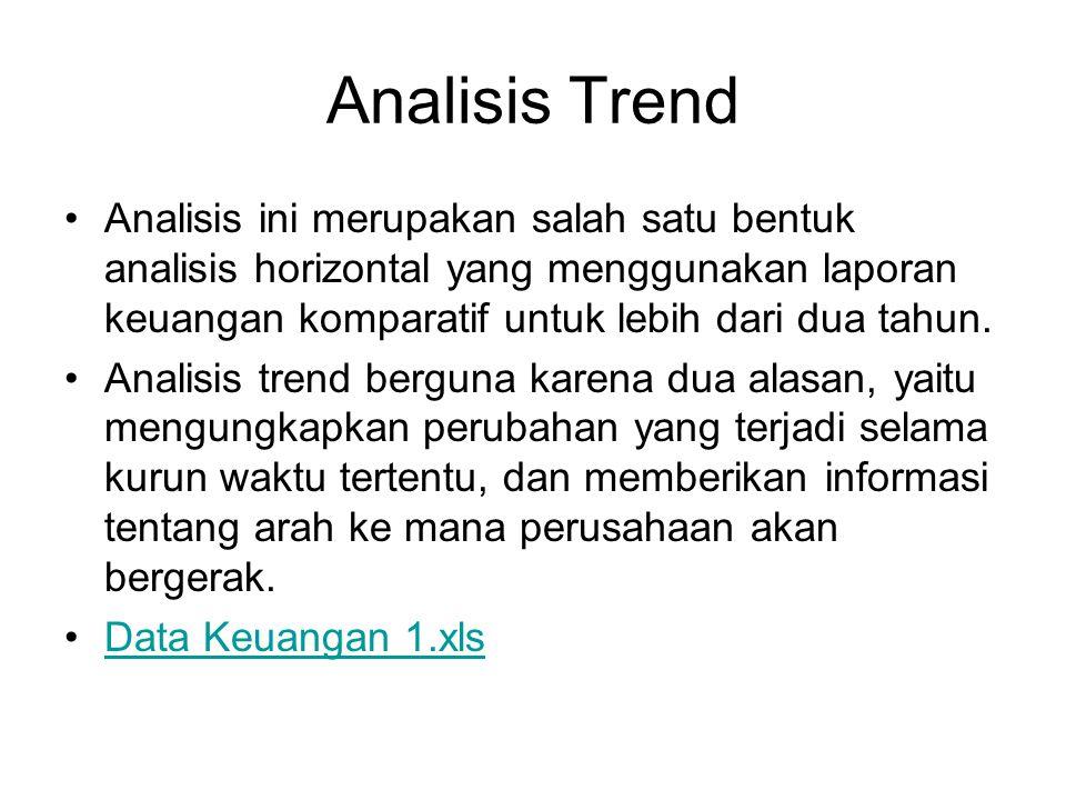 Analisis Trend Analisis ini merupakan salah satu bentuk analisis horizontal yang menggunakan laporan keuangan komparatif untuk lebih dari dua tahun.