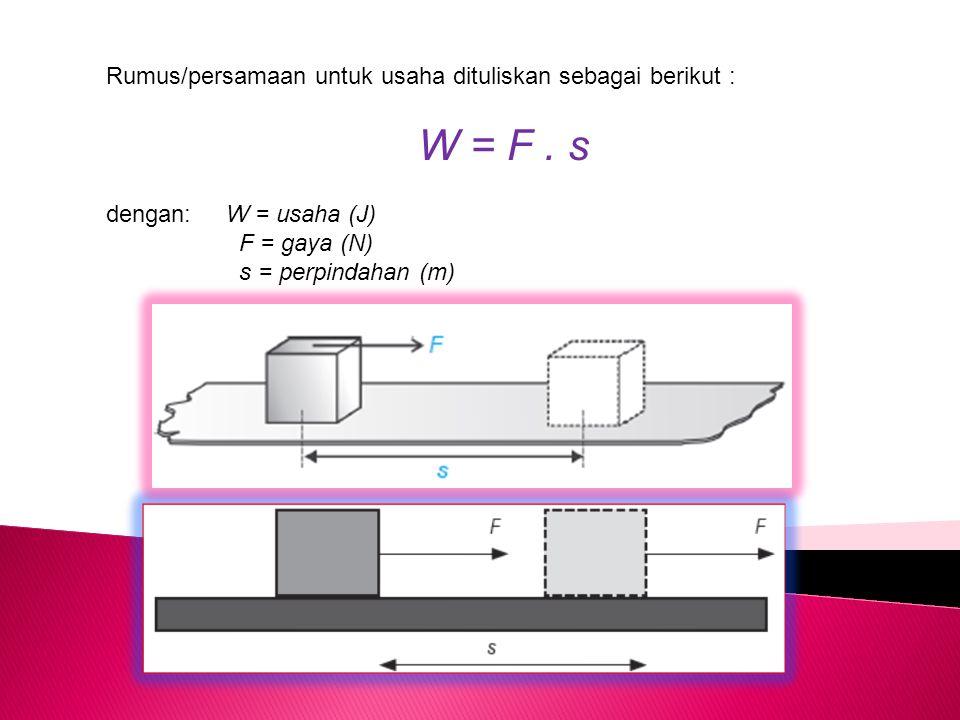 W = F . s Rumus/persamaan untuk usaha dituliskan sebagai berikut :