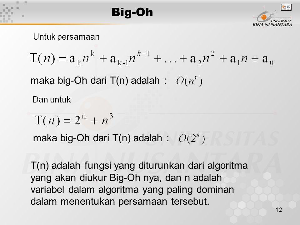 Big-Oh maka big-Oh dari T(n) adalah :