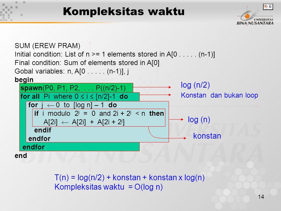 Kompleksitas waktu log (n/2) log (n) konstan