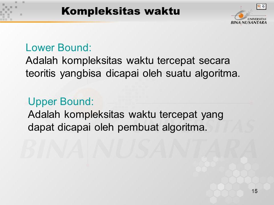 Kompleksitas waktu Lower Bound: Adalah kompleksitas waktu tercepat secara teoritis yangbisa dicapai oleh suatu algoritma.