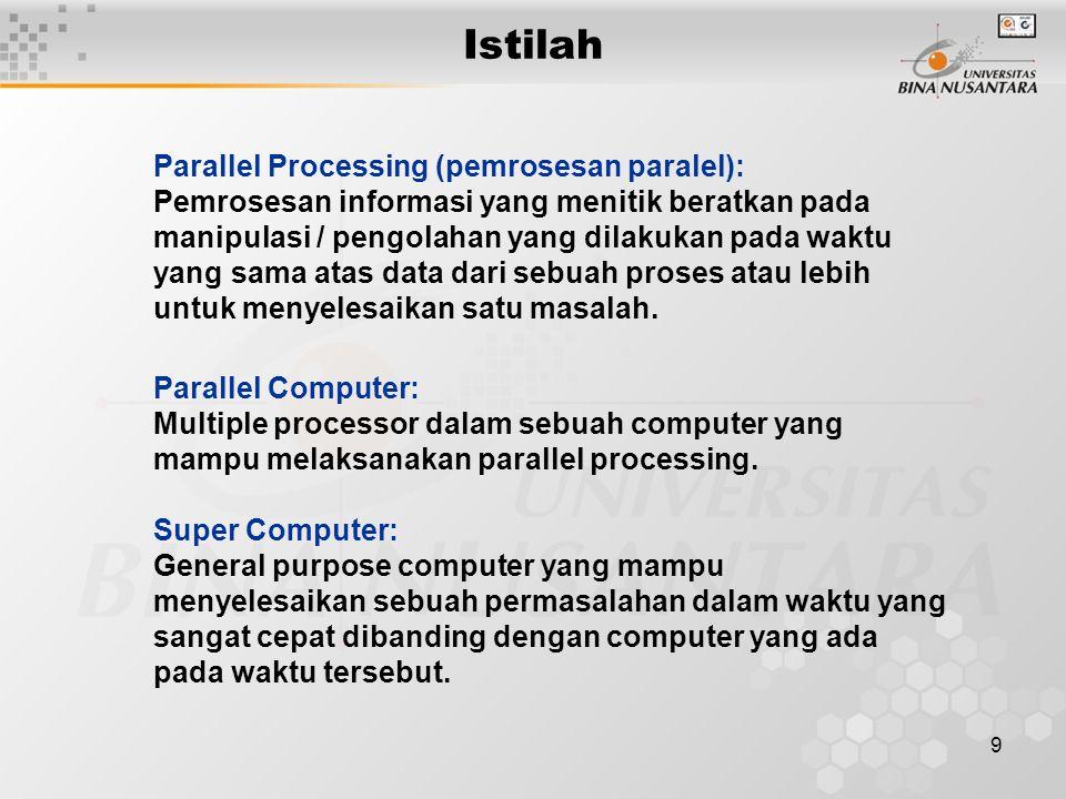 Istilah Parallel Processing (pemrosesan paralel):