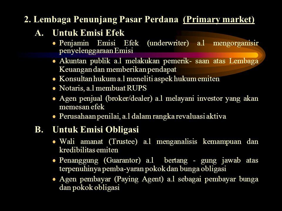 2. Lembaga Penunjang Pasar Perdana (Primary market)
