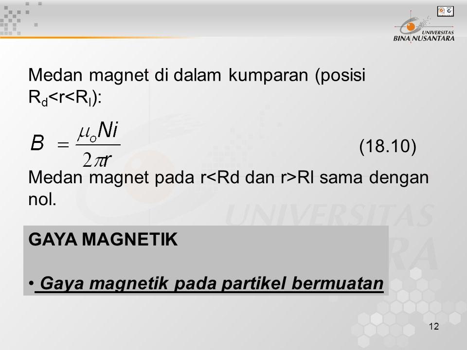 Medan magnet di dalam kumparan (posisi Rd<r<Rl):