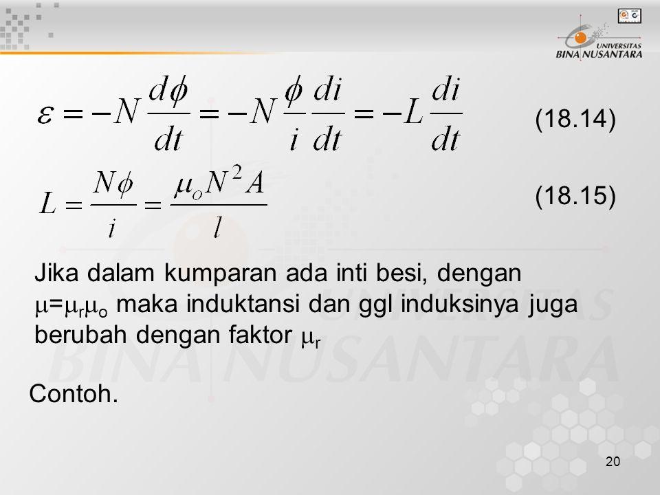 (18.14) (18.15) Jika dalam kumparan ada inti besi, dengan =ro maka induktansi dan ggl induksinya juga berubah dengan faktor r.