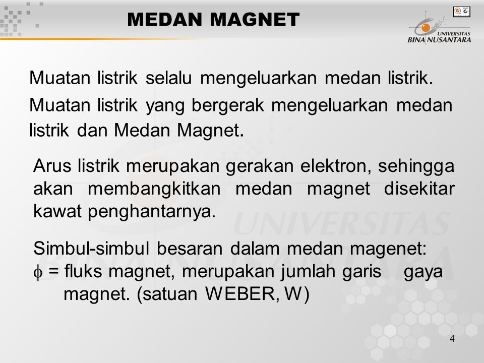 MEDAN MAGNET Muatan listrik selalu mengeluarkan medan listrik. Muatan listrik yang bergerak mengeluarkan medan listrik dan Medan Magnet.