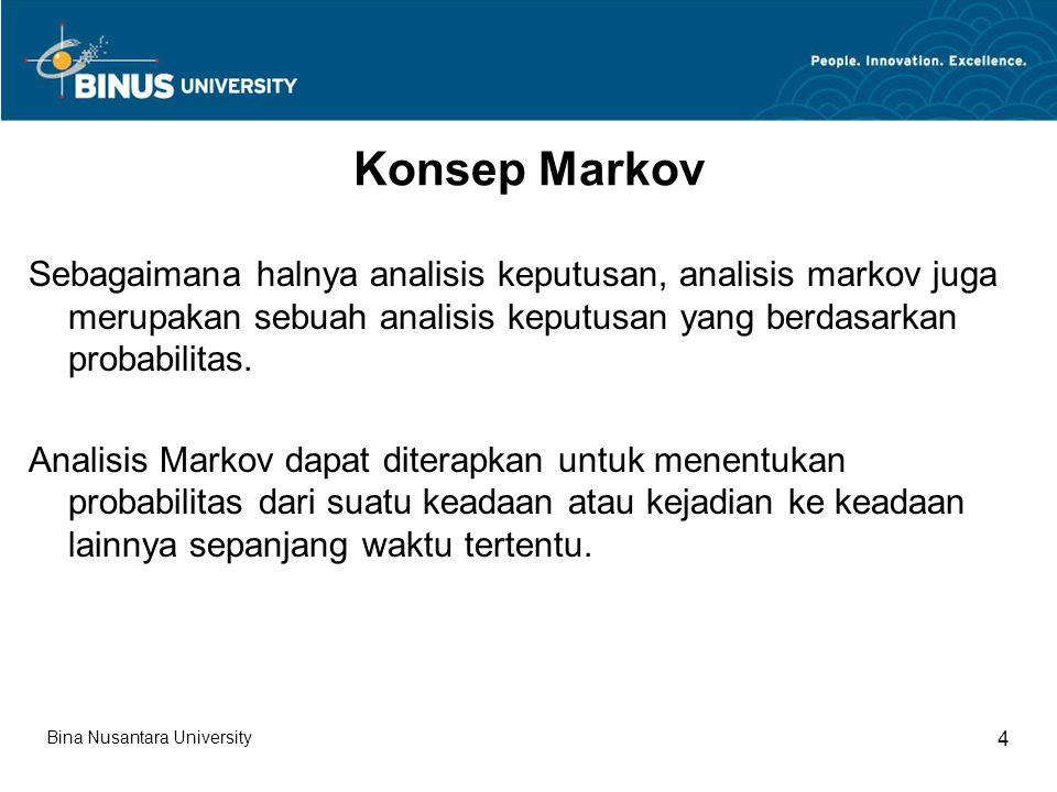 Konsep Markov Sebagaimana halnya analisis keputusan, analisis markov juga merupakan sebuah analisis keputusan yang berdasarkan probabilitas.