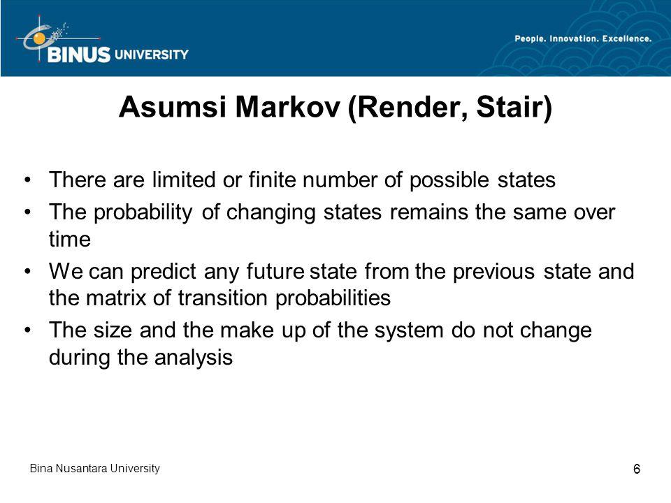 Asumsi Markov (Render, Stair)