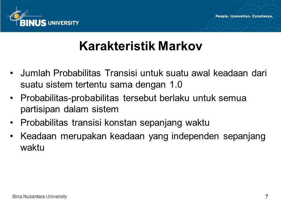 Karakteristik Markov Jumlah Probabilitas Transisi untuk suatu awal keadaan dari suatu sistem tertentu sama dengan 1.0.