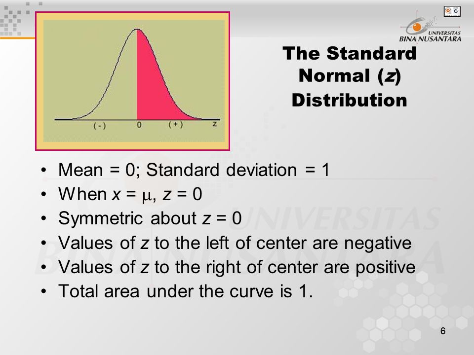 The Standard Normal (z) Distribution