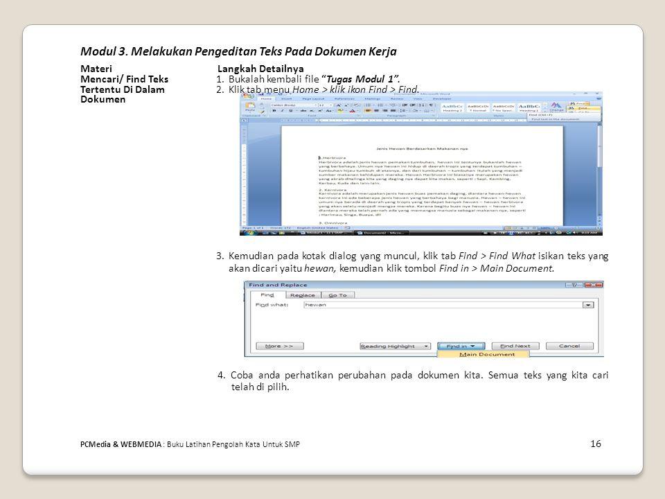 Modul 3. Melakukan Pengeditan Teks Pada Dokumen Kerja