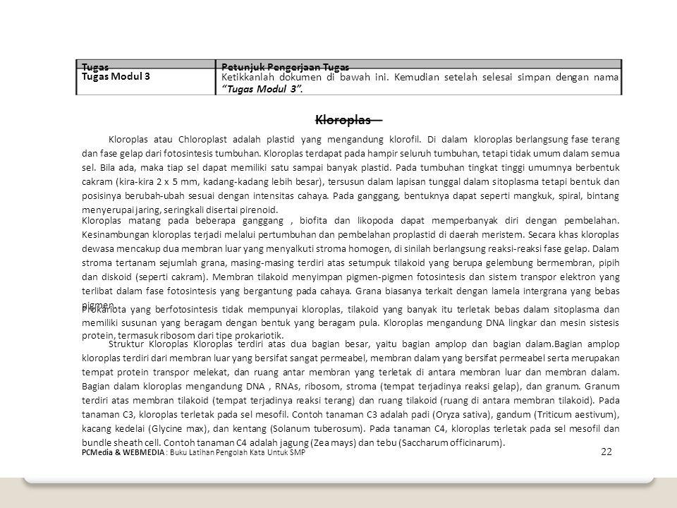 Kloroplas Tugas Petunjuk Pengerjaan Tugas Tugas Modul 3