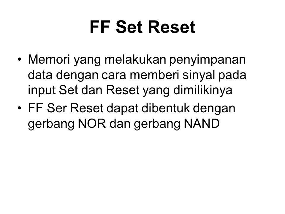 FF Set Reset Memori yang melakukan penyimpanan data dengan cara memberi sinyal pada input Set dan Reset yang dimilikinya.