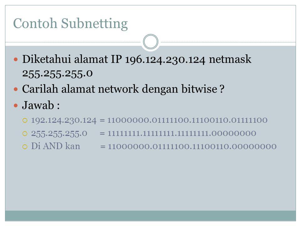 Contoh Subnetting Diketahui alamat IP 196.124.230.124 netmask 255.255.255.0. Carilah alamat network dengan bitwise
