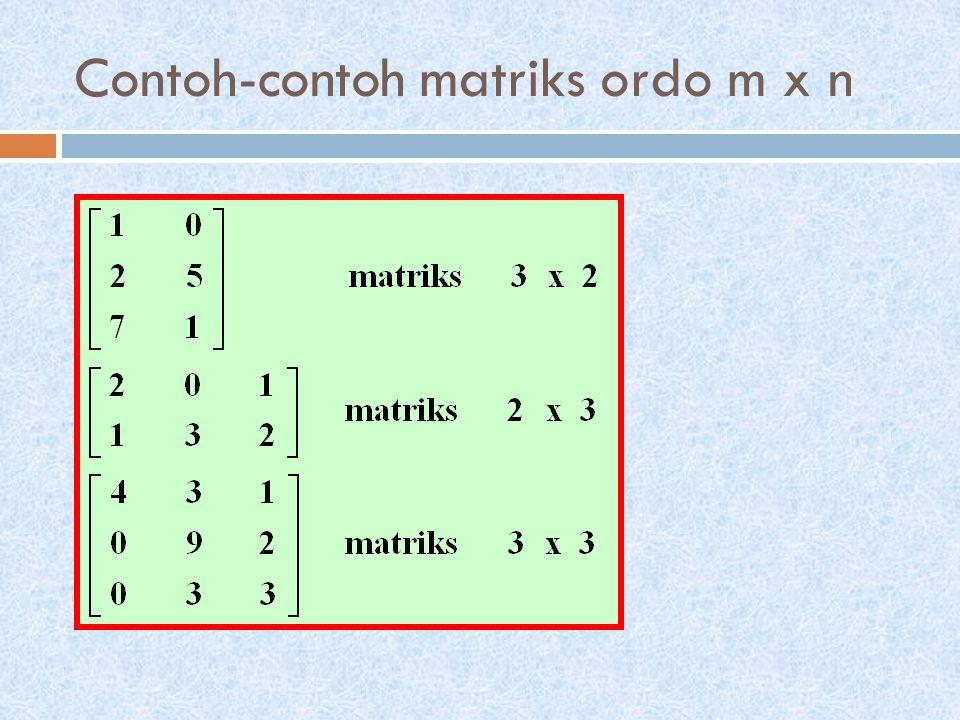 Contoh-contoh matriks ordo m x n