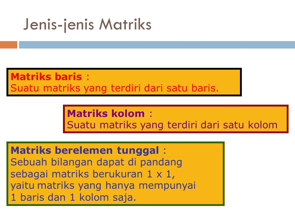 Jenis-jenis Matriks Matriks baris :
