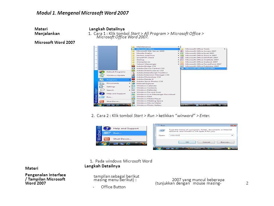 Modul 1. Mengenal Microsoft Word 2007