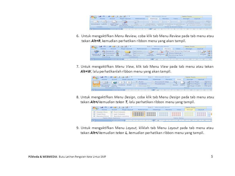 6. Untuk mengaktifkan Menu Review, coba klik tab Menu Review pada tab menu atau tekan Alt+R, kemudian perhatikan ribbon menu yang akan tampil.