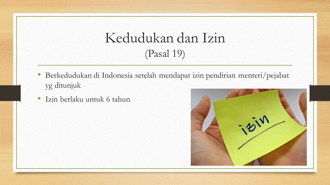 Kedudukan dan Izin (Pasal 19)