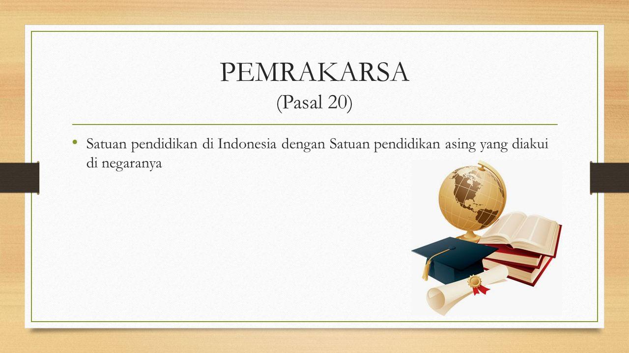 PEMRAKARSA (Pasal 20) Satuan pendidikan di Indonesia dengan Satuan pendidikan asing yang diakui di negaranya.