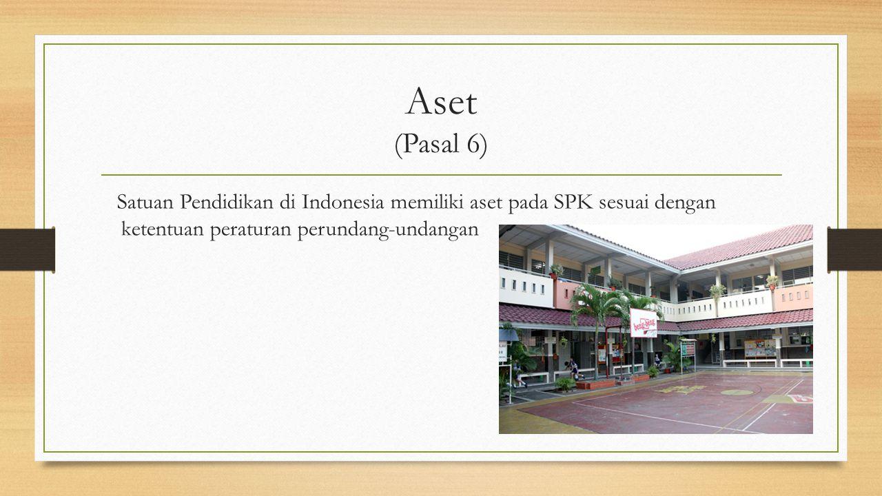 Aset (Pasal 6) Satuan Pendidikan di Indonesia memiliki aset pada SPK sesuai dengan ketentuan peraturan perundang-undangan.