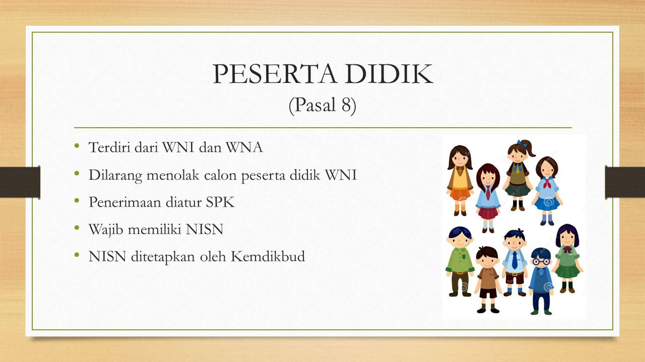 PESERTA DIDIK (Pasal 8) Terdiri dari WNI dan WNA