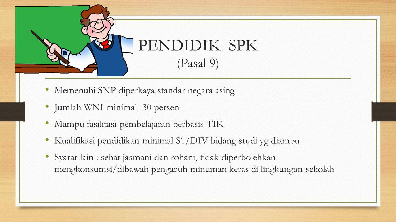 PENDIDIK SPK (Pasal 9) Memenuhi SNP diperkaya standar negara asing
