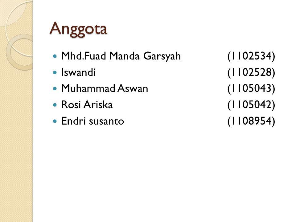 Anggota Mhd.Fuad Manda Garsyah (1102534) Iswandi (1102528)