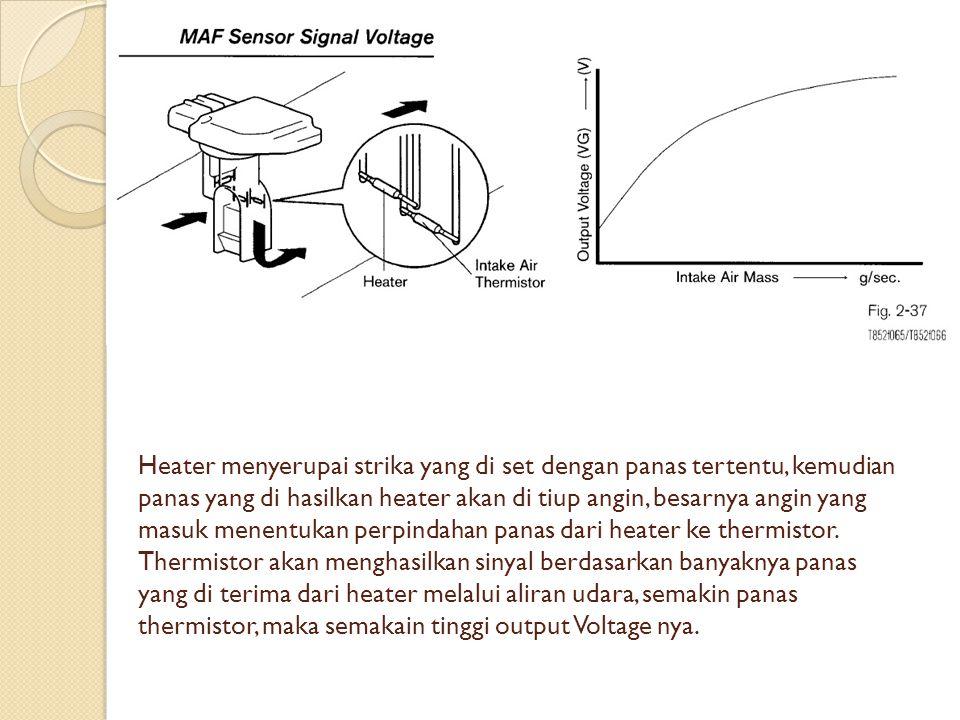 Heater menyerupai strika yang di set dengan panas tertentu, kemudian panas yang di hasilkan heater akan di tiup angin, besarnya angin yang masuk menentukan perpindahan panas dari heater ke thermistor.