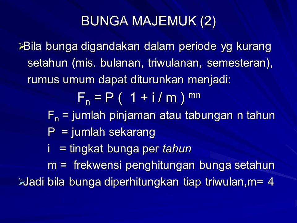 BUNGA MAJEMUK (2) Fn = P ( 1 + i / m ) mn