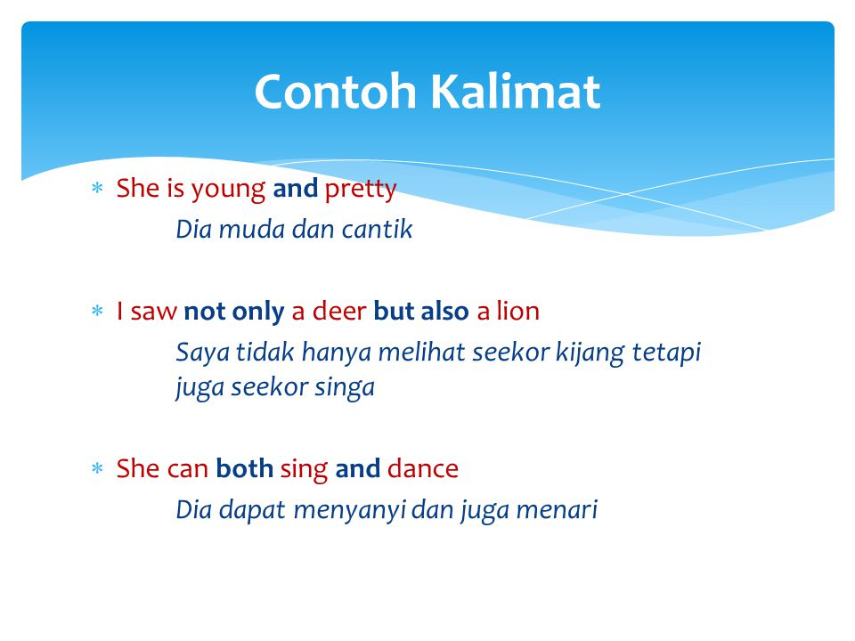 Contoh Kalimat She is young and pretty Dia muda dan cantik