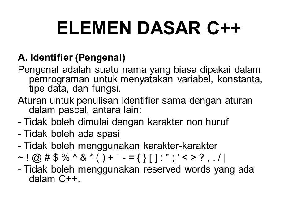 ELEMEN DASAR C++ A. Identifier (Pengenal)