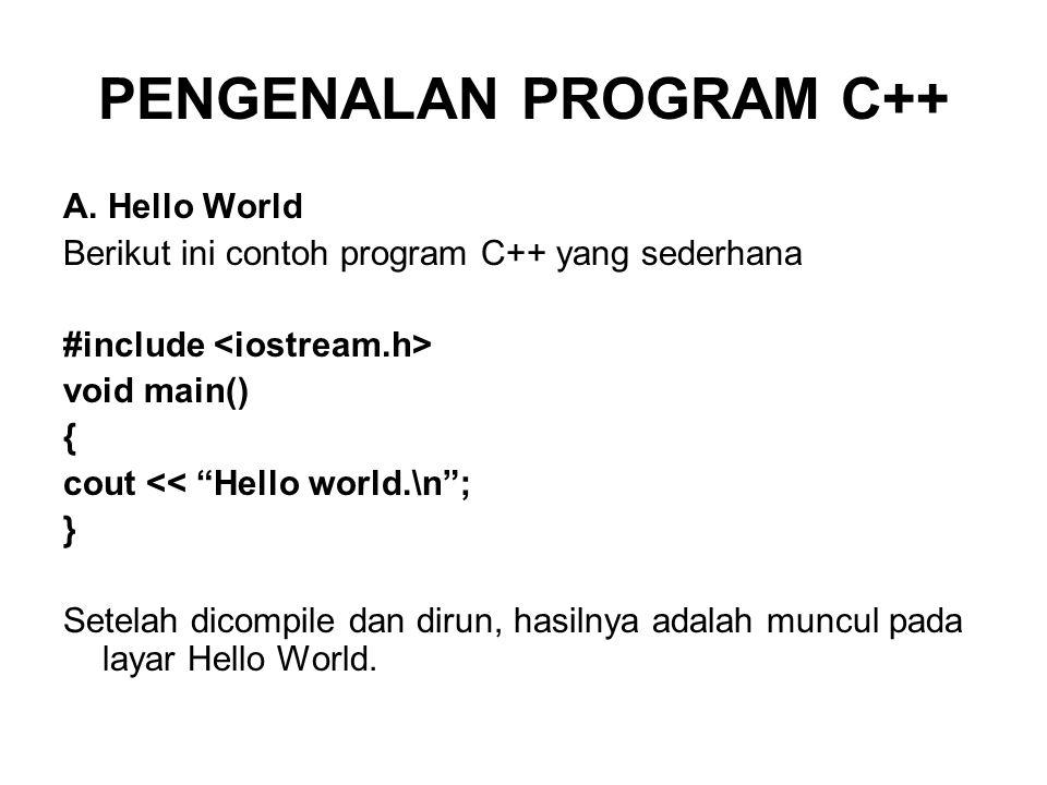 PENGENALAN PROGRAM C++