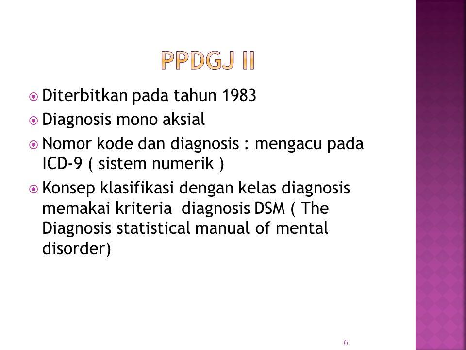 Ppdgj ii Diterbitkan pada tahun 1983 Diagnosis mono aksial