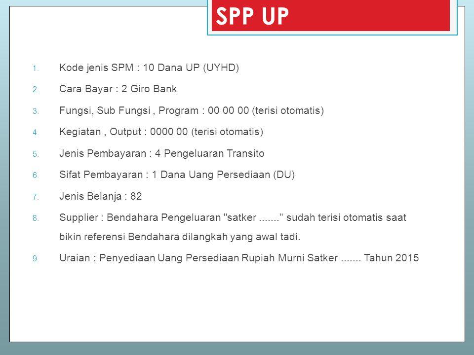 SPP UP Kode jenis SPM : 10 Dana UP (UYHD) Cara Bayar : 2 Giro Bank