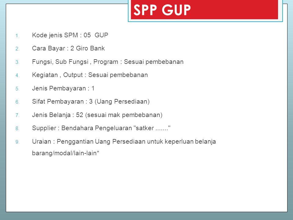 SPP GUP Kode jenis SPM : 05 GUP Cara Bayar : 2 Giro Bank