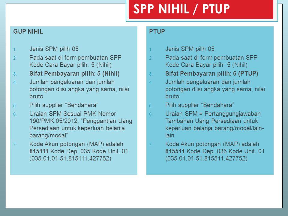 SPP NIHIL / PTUP GUP NIHIL Jenis SPM pilih 05