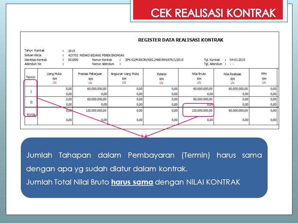 CEK REALISASI KONTRAK Jumlah Tahapan dalam Pembayaran (Termin) harus sama dengan apa yg sudah diatur dalam kontrak.