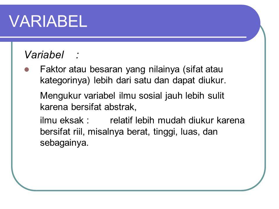 VARIABEL Variabel : Faktor atau besaran yang nilainya (sifat atau kategorinya) lebih dari satu dan dapat diukur.