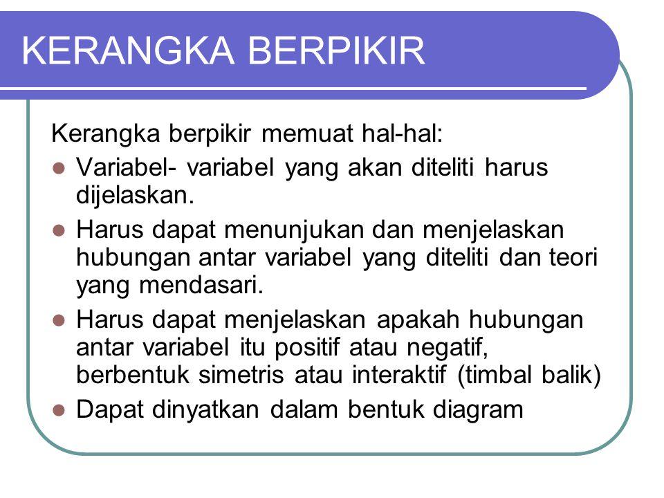 KERANGKA BERPIKIR Kerangka berpikir memuat hal-hal: